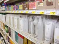 Shelves showing heath and beauty products