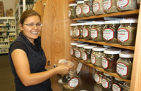 Ruth Bale baging organic spices